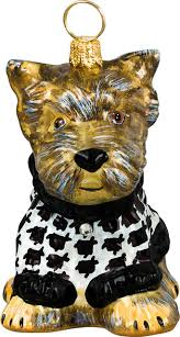 yorkie puppy with hounds tooth sweater ornament