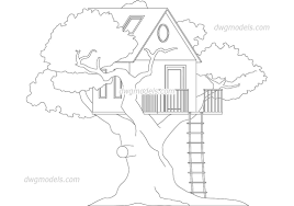 file tree house jpg treehouse cad blocks free dwg file trees plants pinterest