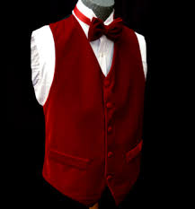 red velvet holiday vest and bowtie combination