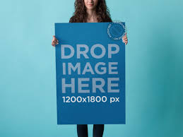 blue backdrop placeit poster mockup of pretty girl a blue backdrop