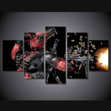 5 piece modern hd printed deadpool mask gun home decor for living
