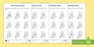 mixed number bonds to 10 on robots worksheet number bonds