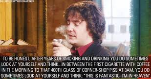 Black Books Meme - in between the first cigarette with coffee in the morning to that