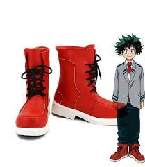 red motorcycle shoes my hero academia izuku midoriya shoes red pu cosplay shoes the