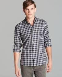 john varvatos usa check peace logo sport shirt slim fit in gray