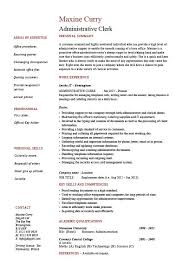 Scanning Clerk Resume Administrative Clerk Resume Clerical Sample Template Job
