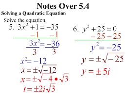 4 notes over 5 4 solving a quadratic equation solve the equation