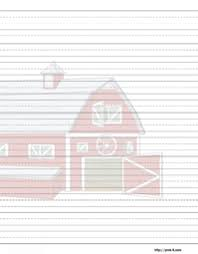 printable animal lined paper red barn house writing paper for kids stationery pinterest
