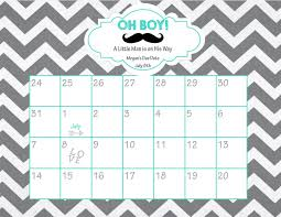 printable due date calendar baby shower game guess the
