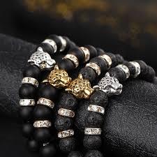 black bead bracelet men images 2017 men 39 s fashion animal charm beads bracelet leopard head black jpg