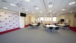 Big Meeting Table Moscow Russia Apr 10 2014 Meeting Room With Big Conference