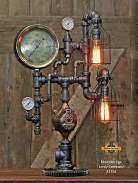steampunk industrial lamp antique steam gauge railroad lamp 176