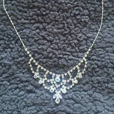 prom necklace 40 s jewelry silver and iridescent jeweled prom