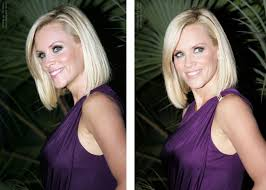does jenny mccarthy have hair extensions with her bob jenny mccarthy with bluntly fashioned hair and jennifer love