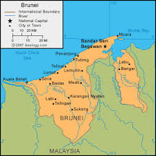 brunei map in world brunei map and satellite image