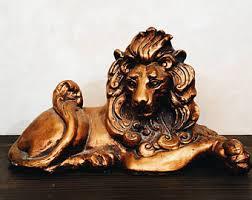 gold lion statue gold lion etsy