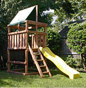 DoItYourself Wood Fort And Swing Set Designs Build It Yourself - Backyard fort designs