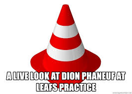 a live look at dion phaneuf at leafs practice traffic cone meme