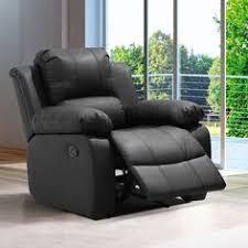 caesar black winged leather recliner chair rocking massage swivel