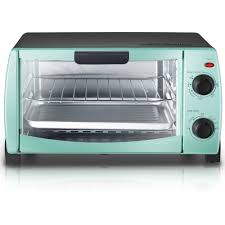 Toaster Oven Temperature Control Mainstays 4 Slice Toaster Oven Classic Mint Walmart Com