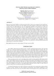 spatial spectrum analysis of various digital elevation models pdf