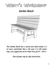 Woodworking Project Plans Pdf by 2x4 Garden Bench Wood Plans Pdf File Blueprint From