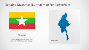 Myanmar Flag Photos Editable Myanmar Powerpoint Map Slidemodel