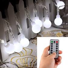 Outdoor Battery Operated Lights Remote Timer 16 50 Led Outdoor Globe String Lights 8 Modes