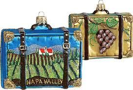 napa valley california travel suitcase glass ornament