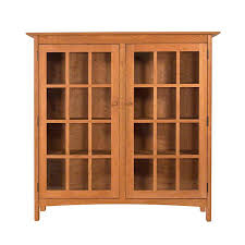 solid wood shaker style bookcase with glass doors high end