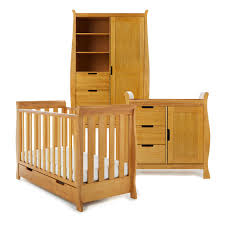 Pine Nursery Furniture Sets Obaby Lincoln Mini Sleigh 3 Nursery Room Set In Country Pine