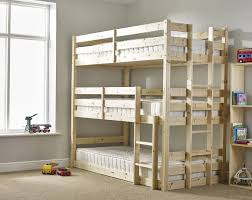 Ft Single  Tier HEAVY DUTY Solid Pine HIGH Triple Sleeper Bunk Bed - High bunk beds