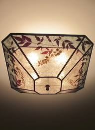 corner ceiling light fixtures cut corner square silver mica ceiling light with aqua color band and