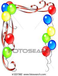 birthday ribbons clip of birthday balloons and ribbons k1227382 search
