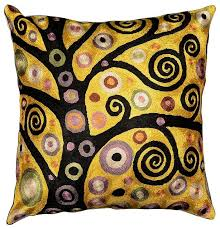 klimt throw pillow soulful tree of silk embroidered 18