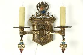 Bronze Wall Sconce Sold Pair Antique 1915 Bronze Wall Sconce Lights Heraldic