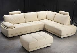 Comfortable Leather Couch L Shaped Beige Leather Couch With Extra Comfortable Back And
