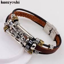 leather bracelet with silver charms images Bracelet men accessoires homme 2016 tibetan silver men leather jpg