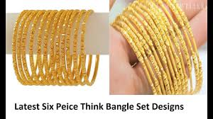 gold bangle bracelet sets images Light weight six piece gold bangle set thin 22 karat gold jpg
