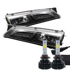 nissan 240sx s14 jdm led kit 97 98 nissan 240sx s14 jdm style black crystal headlights