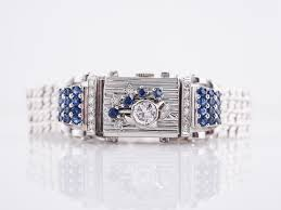 ladies watch art deco diamond u0026 sapphire in 14k white gold