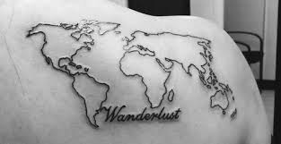 nice world map tattoo on shoulder for women picsmine