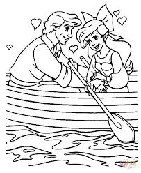 ariel prince eric boat coloring free printable