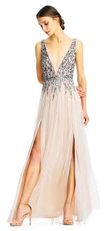 plunging neckline beaded mesh gown with sheer plunging neckline aidan mattox