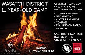 wasatch district 11 year old campout