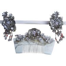vintage comb vintage japanese hair comb hairpin geisha set silver tone faux