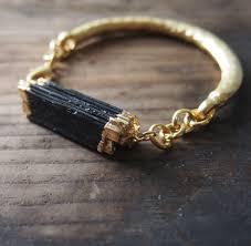 black gold bangle bracelet images Black raw tourmaline gold bangle bracelet lusix jpg