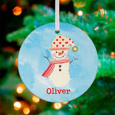 oopsy polka dot and stripes snowman personalized ornament by