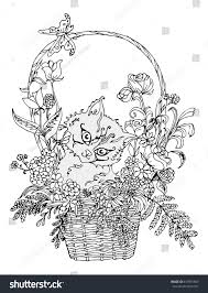 vector image kitten basket flowers ornament stock vector 613975949