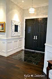 Stonington Gray Benjamin Moore Entryway With Dark Wood Flooring Black Marble Tile And Double